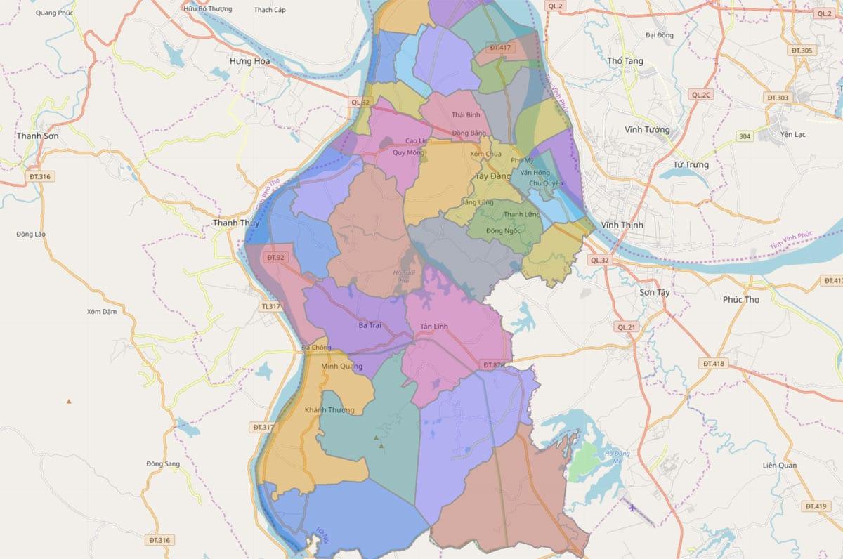 Bản đồ hành chính huyện Ba Vì TP Hà Nội - BẢN ĐỒ HÀNH CHÍNH HÀ NỘI VÀ CÁC QUẬN HUYỆN MỚI NHẤT