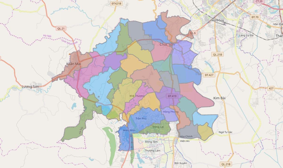 Bản đồ hành chính huyện Chương Mỹ TP Hà Nội - BẢN ĐỒ HÀNH CHÍNH HÀ NỘI VÀ CÁC QUẬN HUYỆN MỚI NHẤT