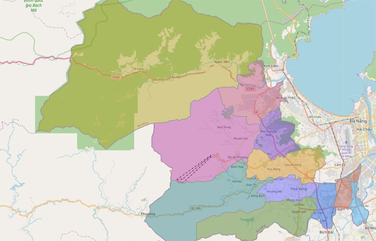 Bản đồ hành chính huyện Hòa Vang TP Đà Nẵng - BẢN ĐỒ HÀNH CHÍNH THÀNH PHỐ ĐÀ NẴNG & THÔNG TIN QUY HOẠCH ĐÀ NẴNG MỚI NHẤT