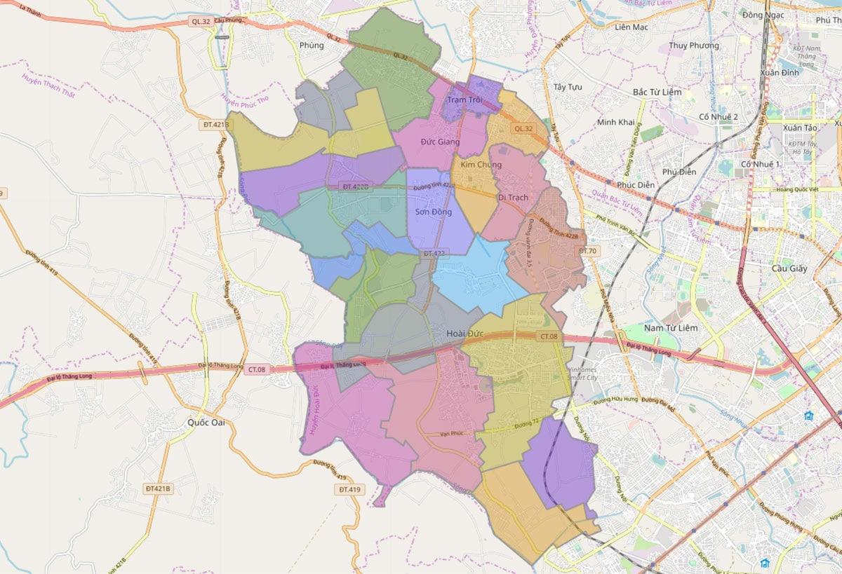 Bản đồ hành chính huyện Hoài Đức TP Hà Nội - BẢN ĐỒ HÀNH CHÍNH HÀ NỘI VÀ CÁC QUẬN HUYỆN MỚI NHẤT