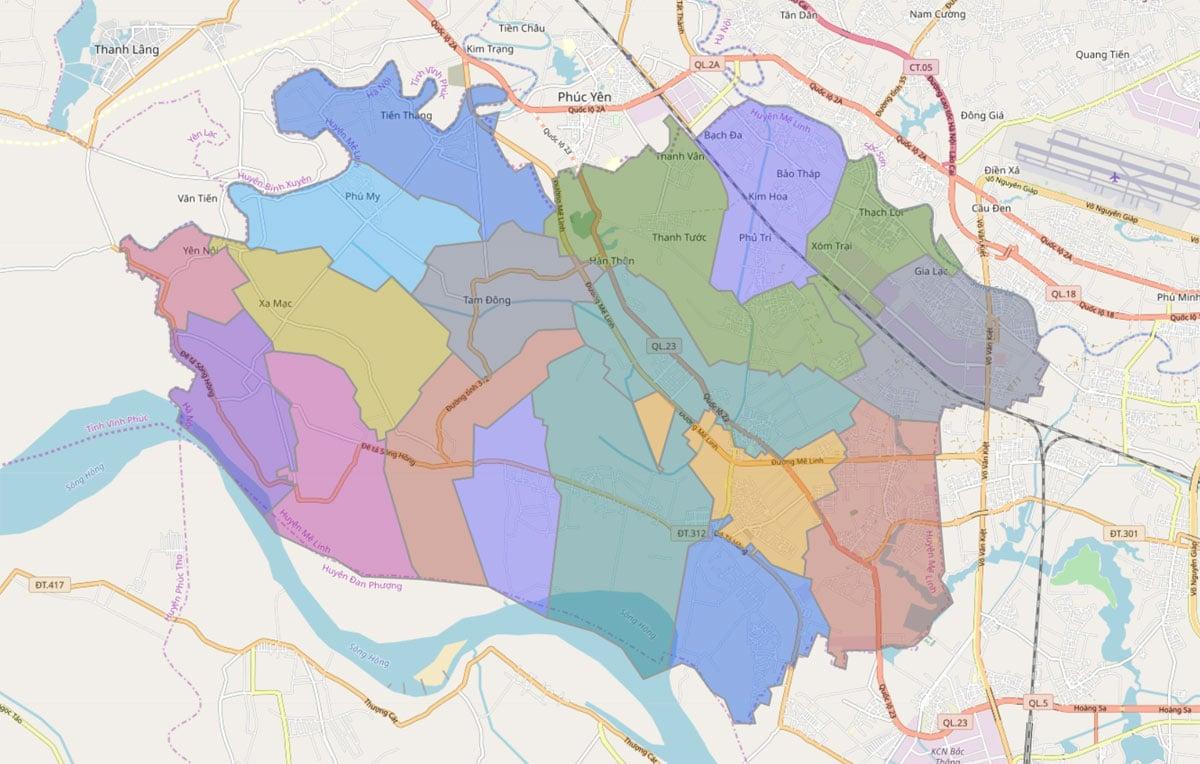 Bản đồ hành chính huyện Mê Linh TP Hà Nội - BẢN ĐỒ HÀNH CHÍNH HÀ NỘI VÀ CÁC QUẬN HUYỆN MỚI NHẤT