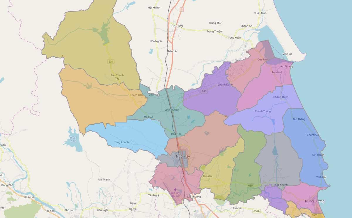 Bản đồ hành chính huyện Phù Cát Bình Định - BẢN ĐỒ HÀNH CHÍNH TỈNH BÌNH ĐỊNH & THÔNG TIN QUY HOẠCH BÌNH ĐỊNH MỚI NHẤT