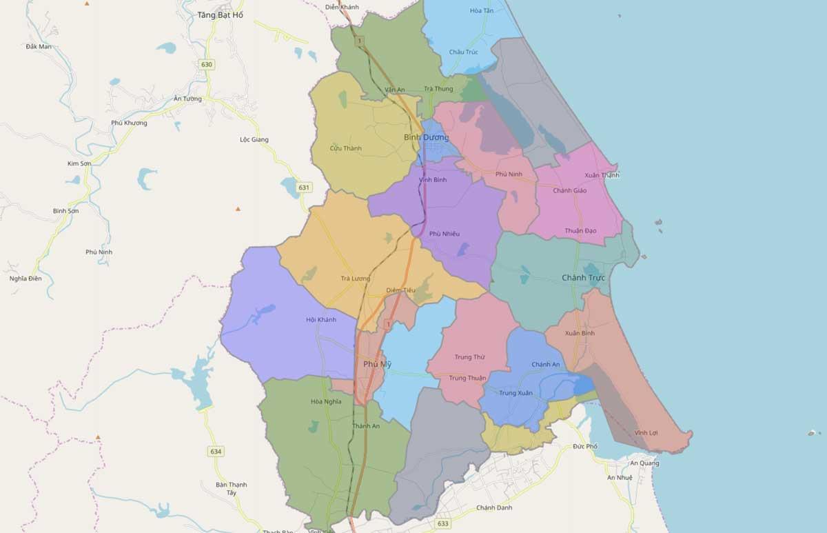 Bản đồ hành chính huyện Phù Mỹ Bình Định - BẢN ĐỒ HÀNH CHÍNH TỈNH BÌNH ĐỊNH & THÔNG TIN QUY HOẠCH BÌNH ĐỊNH MỚI NHẤT