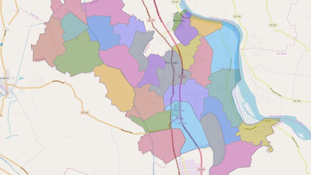 Bản đồ hành chính huyện Phú Xuyên TP Hà Nội - BẢN ĐỒ HÀNH CHÍNH HÀ NỘI VÀ CÁC QUẬN HUYỆN MỚI NHẤT