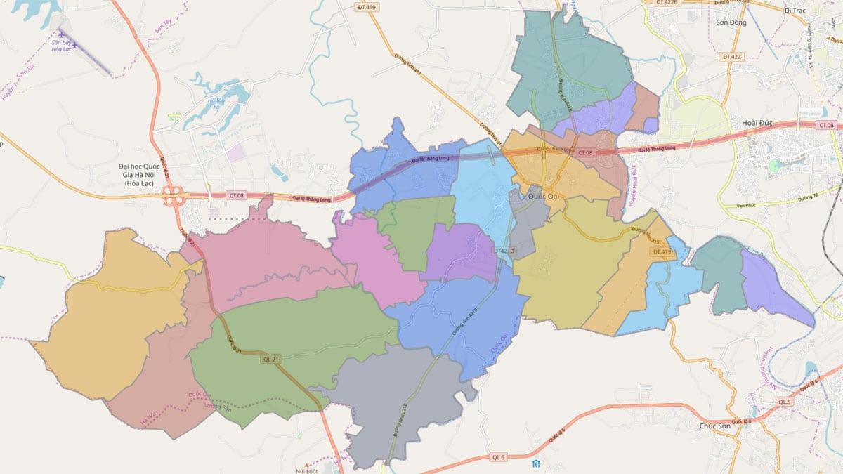 Bản đồ hành chính huyện Quốc Oai TP Hà Nội - BẢN ĐỒ HÀNH CHÍNH HÀ NỘI VÀ CÁC QUẬN HUYỆN MỚI NHẤT