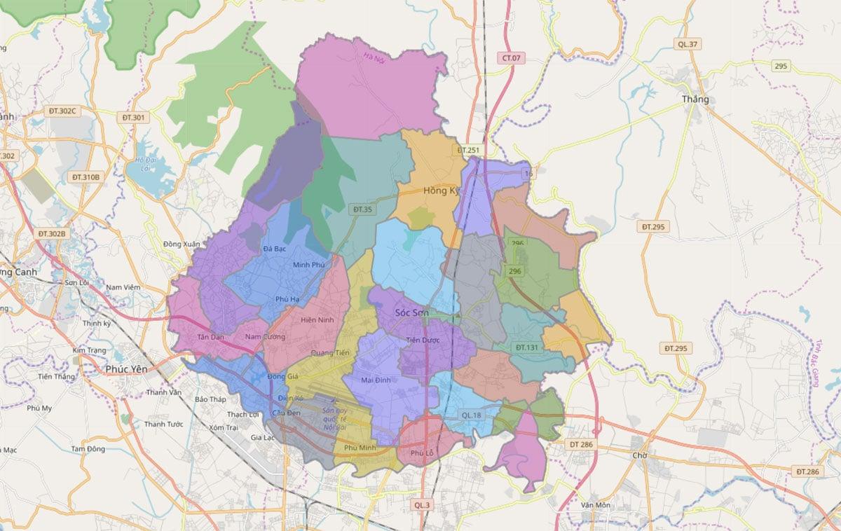 Bản đồ hành chính huyện Sóc Sơn TP Hà Nội - BẢN ĐỒ HÀNH CHÍNH HÀ NỘI VÀ CÁC QUẬN HUYỆN MỚI NHẤT
