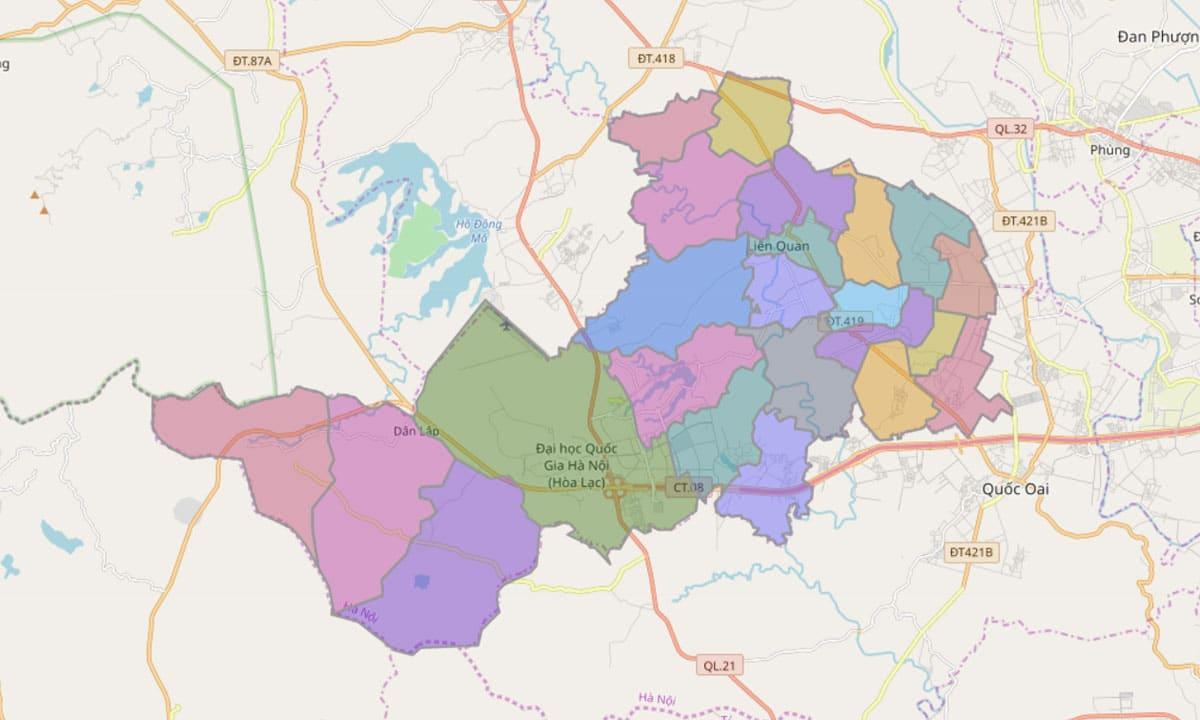 Bản đồ hành chính huyện Thạch Thất TP Hà Nội - BẢN ĐỒ HÀNH CHÍNH HÀ NỘI VÀ CÁC QUẬN HUYỆN MỚI NHẤT