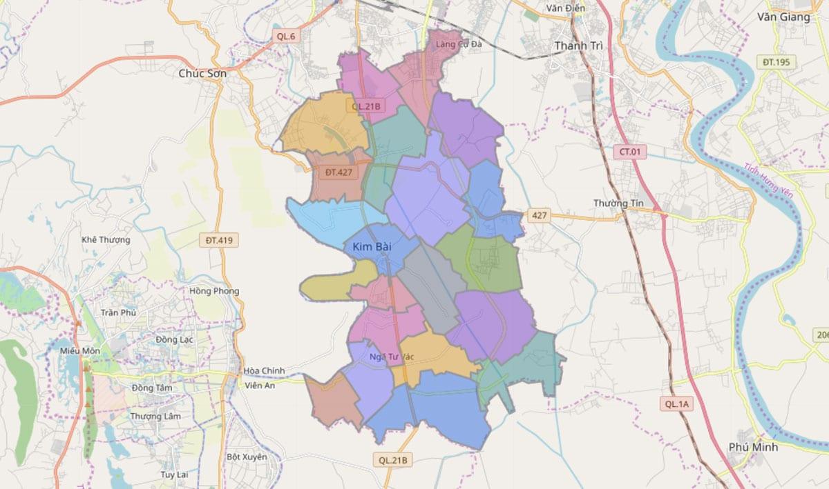 Bản đồ hành chính huyện Thanh Oai TP Hà Nội - BẢN ĐỒ HÀNH CHÍNH HÀ NỘI VÀ CÁC QUẬN HUYỆN MỚI NHẤT