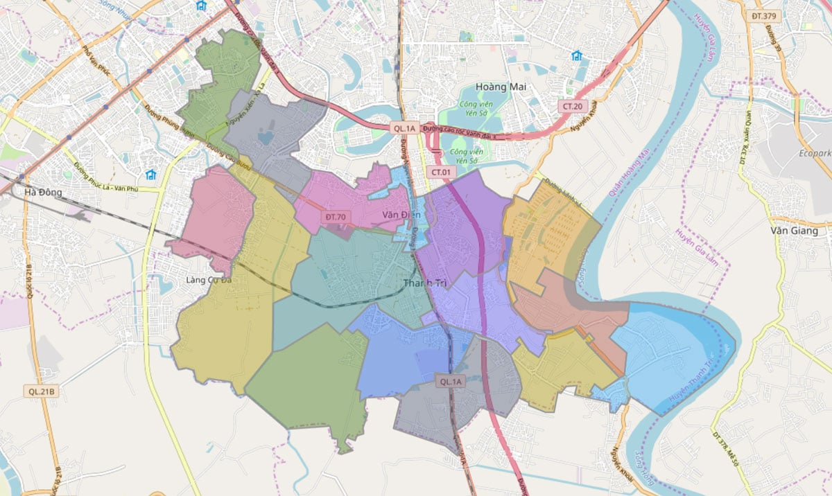 Bản đồ hành chính huyện Thanh Trì TP Hà Nội - BẢN ĐỒ HÀNH CHÍNH HÀ NỘI VÀ CÁC QUẬN HUYỆN MỚI NHẤT