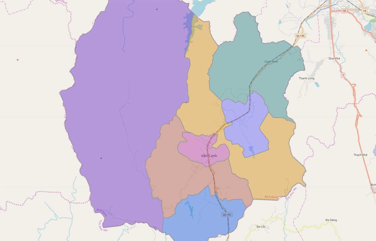 Bản đồ hành chính huyện Vân Canh Bình Định - BẢN ĐỒ HÀNH CHÍNH TỈNH BÌNH ĐỊNH & THÔNG TIN QUY HOẠCH BÌNH ĐỊNH MỚI NHẤT