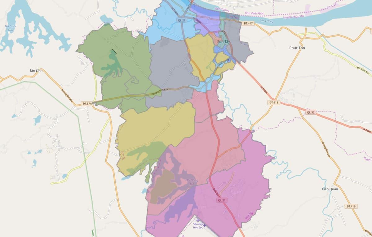 Bản đồ hành chính thị xã Sơn Tây TP Hà Nội - BẢN ĐỒ HÀNH CHÍNH HÀ NỘI VÀ CÁC QUẬN HUYỆN MỚI NHẤT