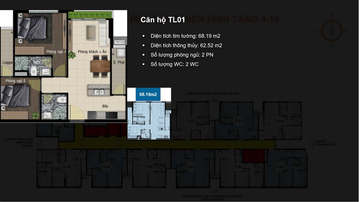 Căn hộ TL01 Diện tích tim tường 68.19 m2 - HAPPY ONE PREMIER THẠNH LỘC QUẬN 12