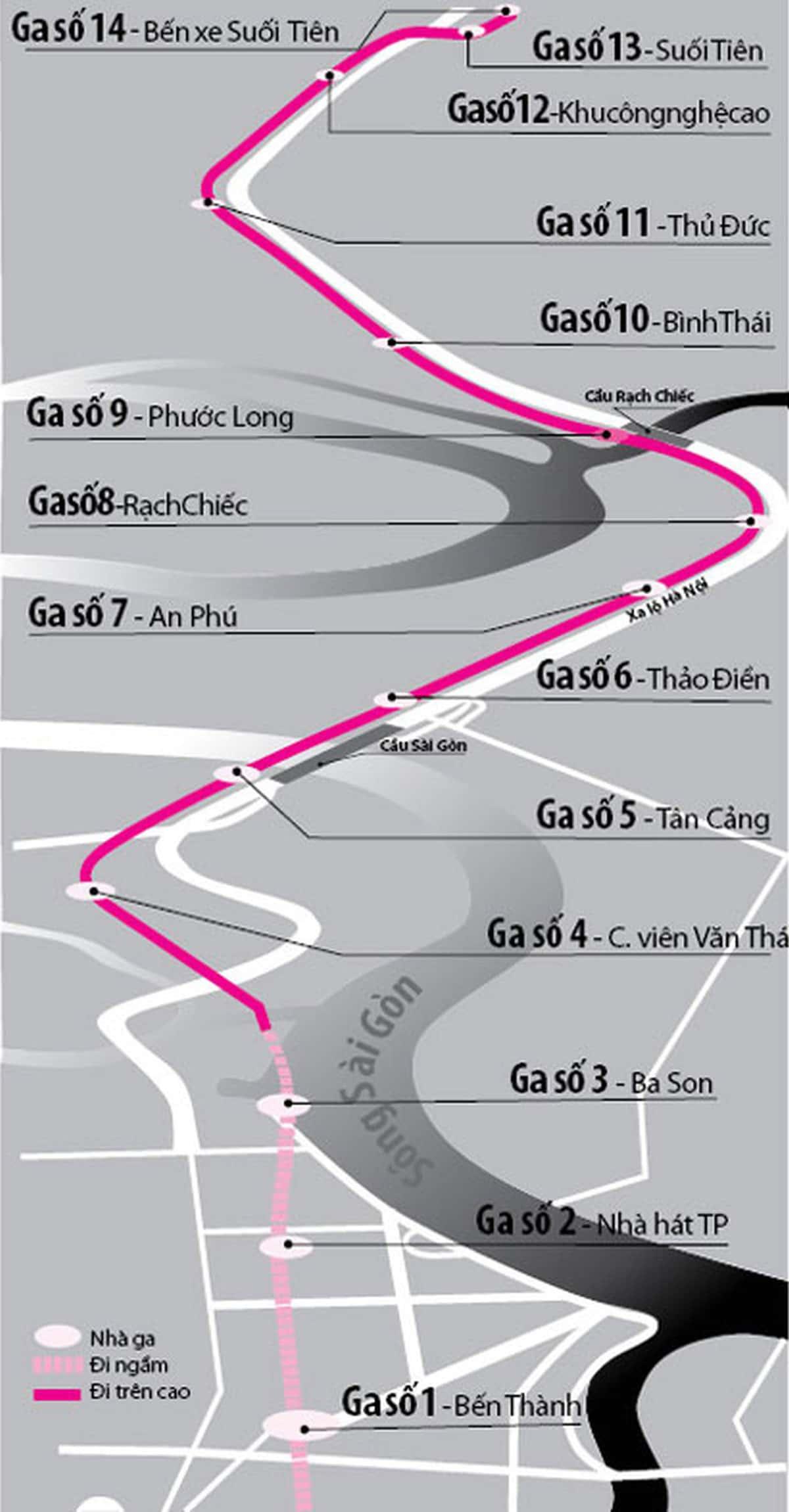 he thong nha ga tuyen metro so 1 - Thông tin về Sơ đồ Tuyến Metro số 1: Bến Thành – Suối Tiên
