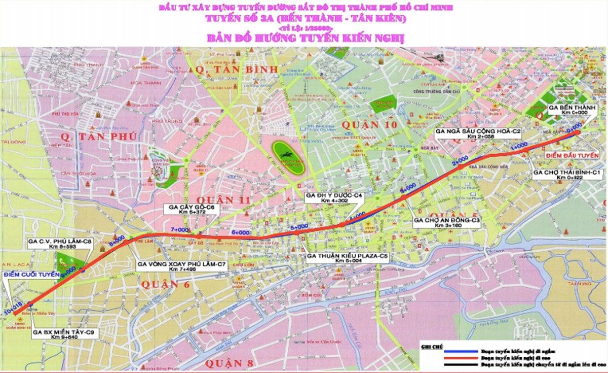 so do dinh tuyen metro so 3a - Thông tin Tuyến Metro số 3A TP.HCM: Bến Thành – Tân Kiên