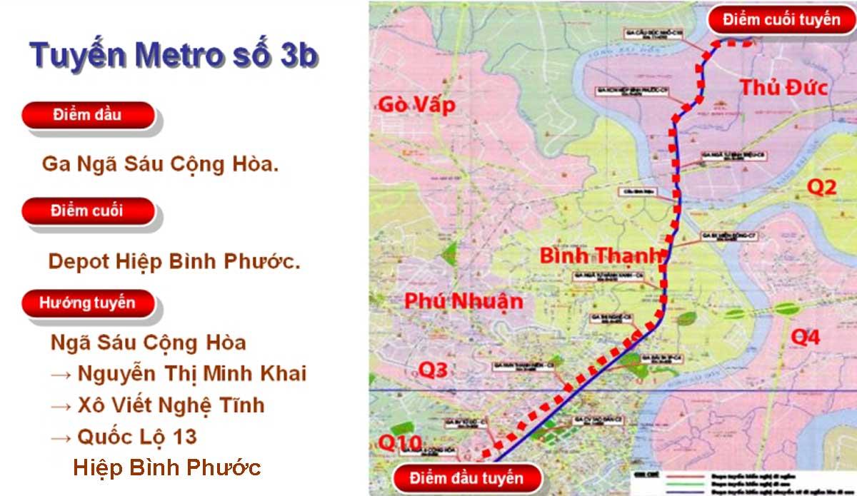so do tinh tuyen metro 3b - Thông tin Tuyến Metro 3B: Ngã sáu Cộng Hòa – Hiệp Bình Phước