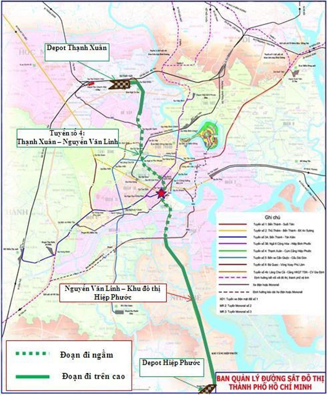 so do tuyen metro so 4 - Thông tin Tuyến Metro Số 4: Thạnh Xuân Quận 12 - Khu đô thị Hiệp Phước