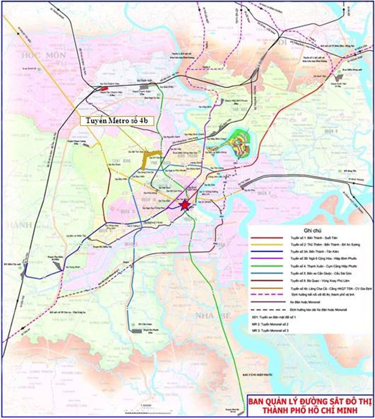so do tuyen metro so 4b - Thông tin Tuyến Metro 4B: Công viên Gia Định - Lăng Cha Cả