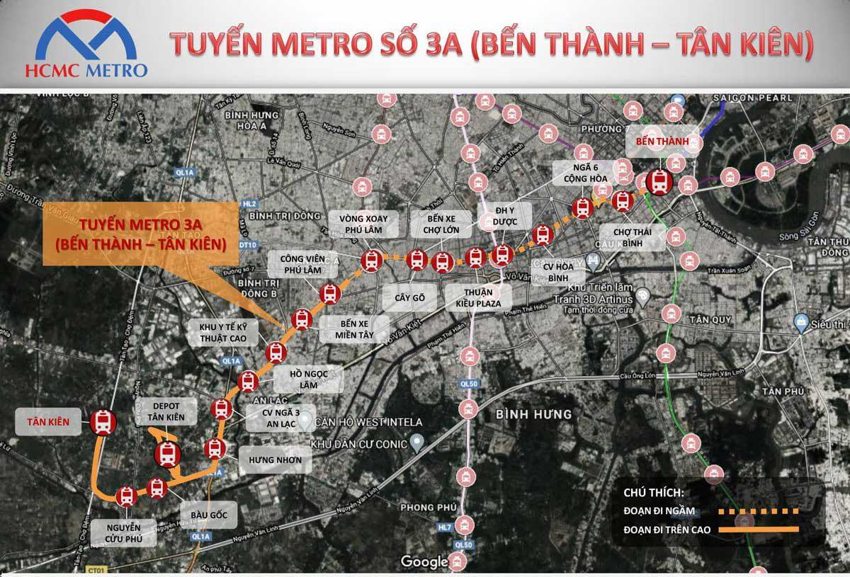 tuyen metro so 3a Ben thanh Tan Kien - Thông tin Tuyến Metro số 3A TP.HCM: Bến Thành – Tân Kiên