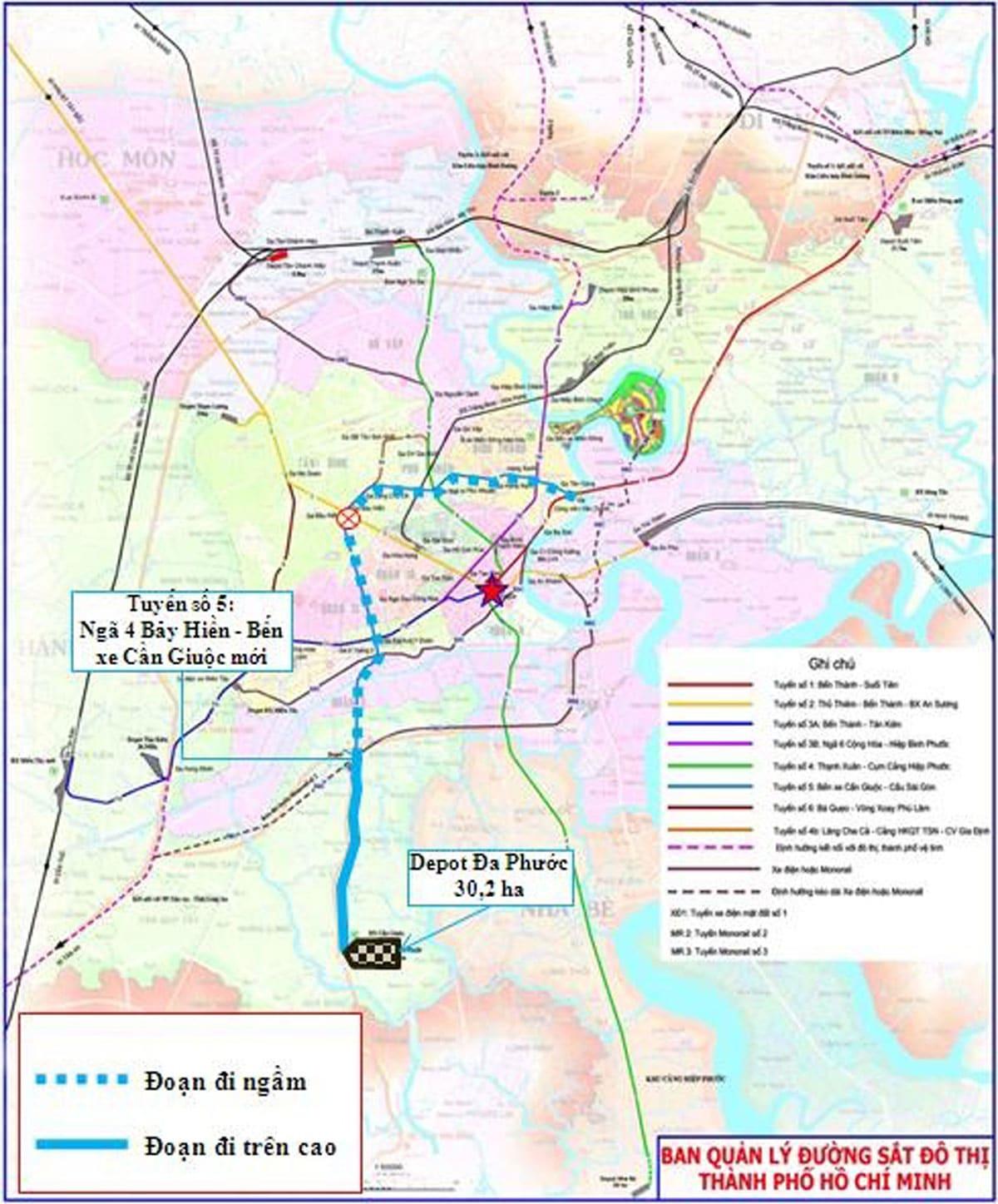 tuyen metro so 5 - Thông tin Tuyến Metro số 5:  Cầu Sài Gòn – Bến xe Cần Giuộc