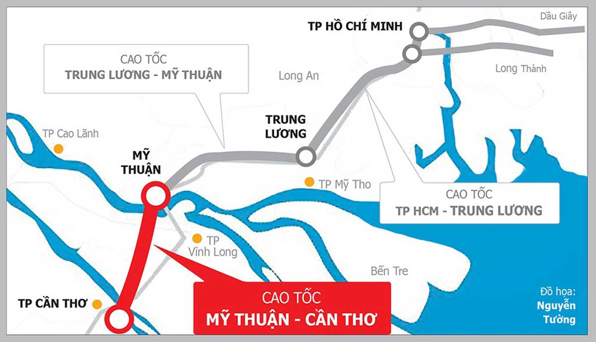 Vị trí Dự án Đường cao tốc Mỹ Thuận Cần Thơ