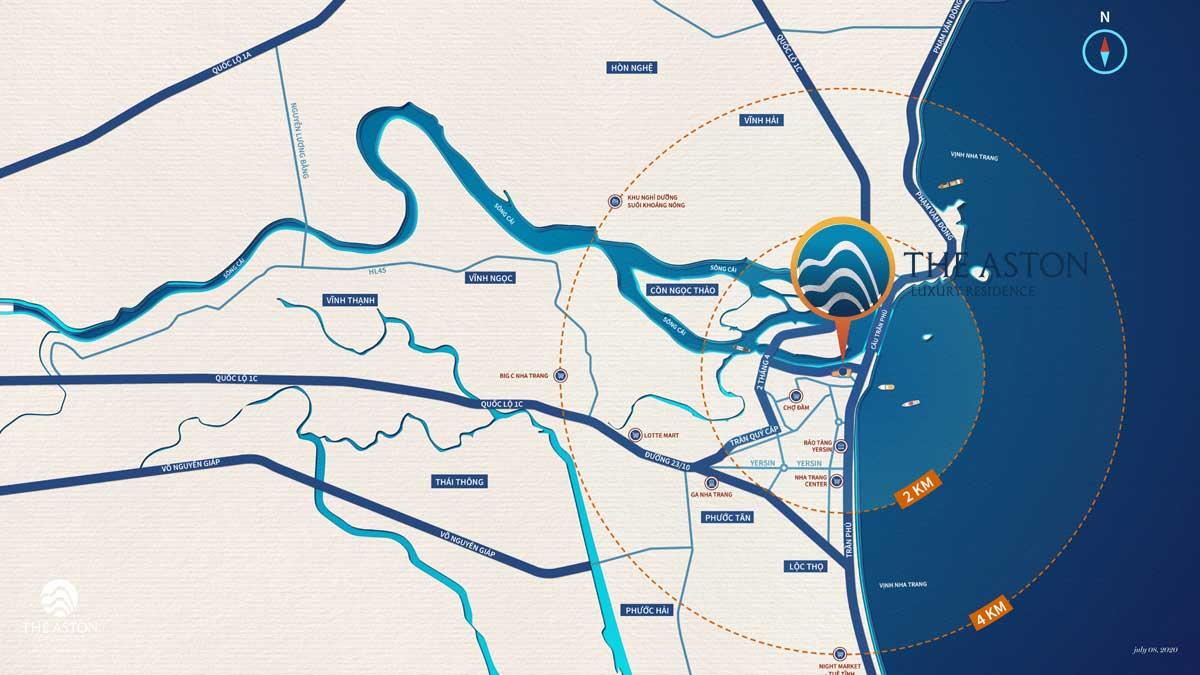Vị trí The Aston Luxury Residence Nha Trang - Lợi thế đắc địa từ Vị trí Dự án The Aston Trần Phú Nha Trang