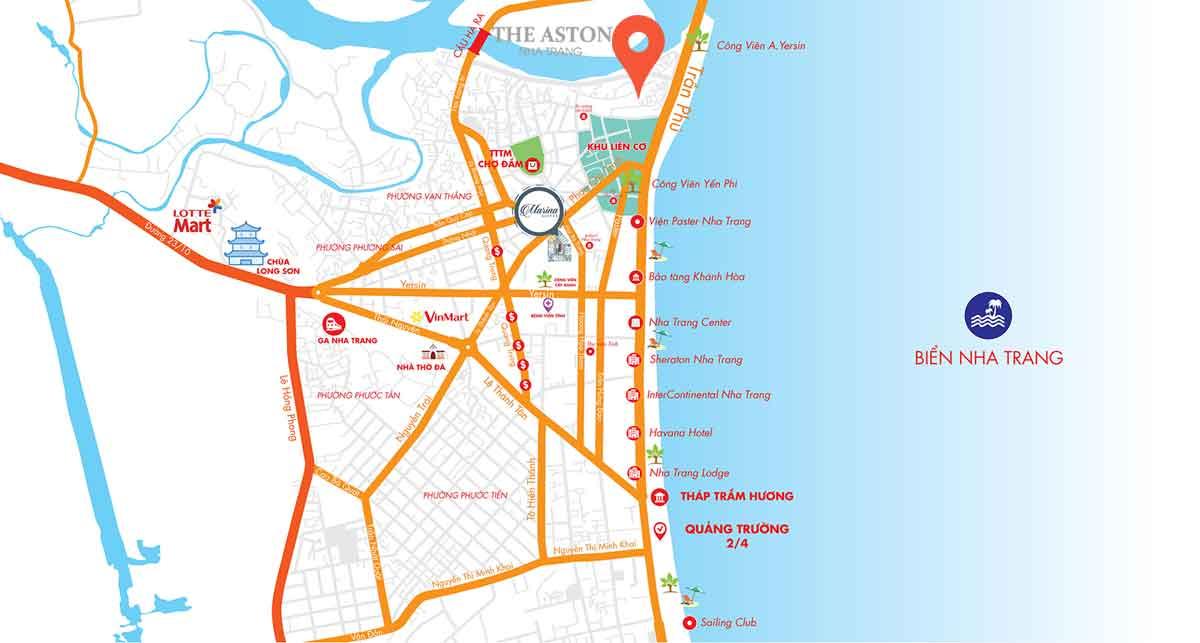 ban do vi tri du an the aston nha trang - Vị trí Căn hộ The Aston sở hữu Trục đường đắt đỏ bậc nhất bên vịnh biển