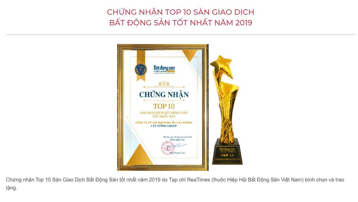 chung nhan giai thuong 10 san bds tot nhat nam 2019 cua cat tuong group - CÁT TƯỜNG GROUP