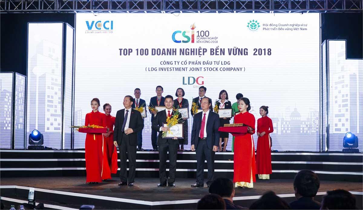 ldg group dat top 100 danh nghiep phat trien ben vung nam 2018 - CÔNG TY CỔ PHẦN ĐẦU TƯ LDG (LDG GROUP)