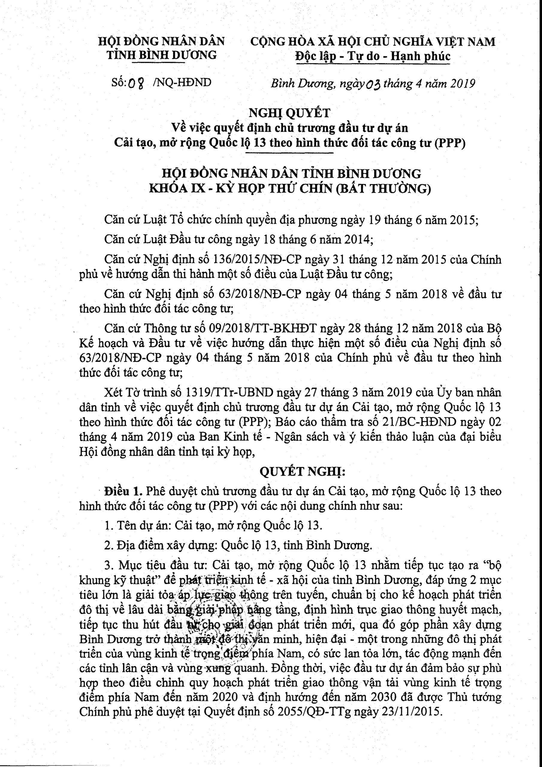 nghi quyet chu truong dau tu mo rong duong quoc lo 13 scaled - Định hướng quy hoạch Tỉnh Bình Dương mới nhất