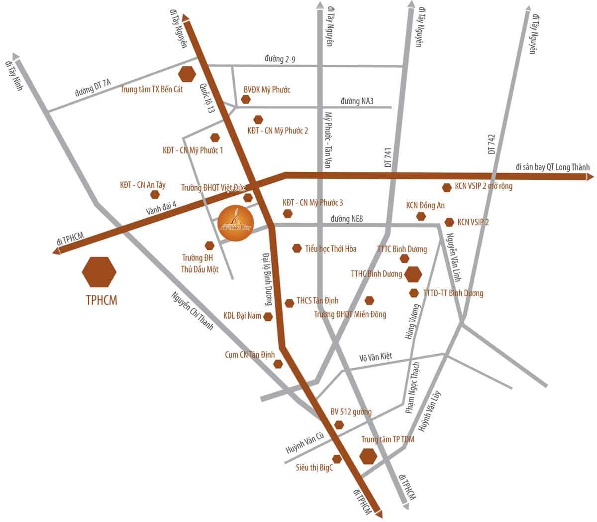 vị trí dự án bình dương avenue city - BÌNH DƯƠNG AVENUE CITY