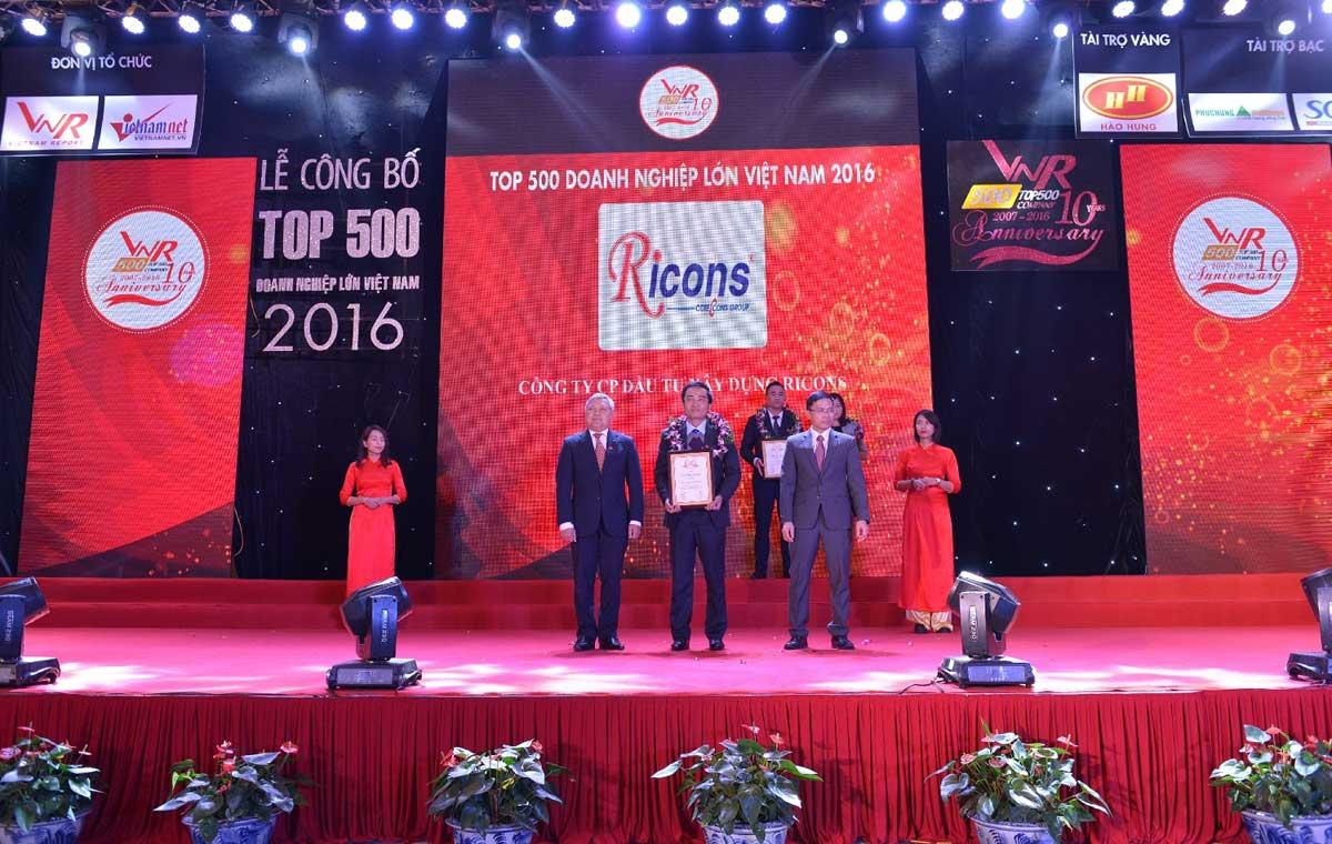 Ricons Hạng 150 trong danh sách 500 doanh nghiệp tư nhân lớn nhất Việt Nam - CÔNG TY CỔ PHẦN ĐẦU TƯ XÂY DỰNG RICONS