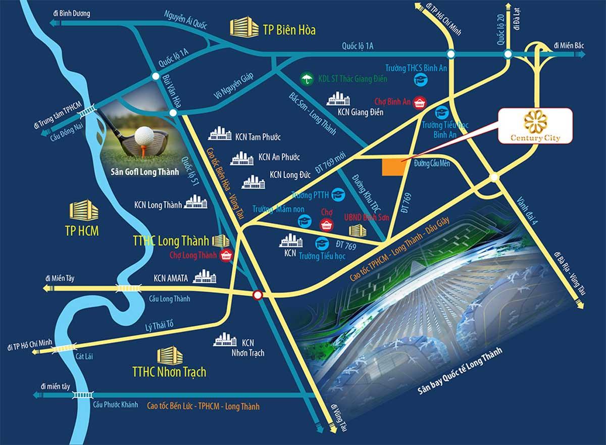 ban do vi tri du an century city long thanh - CENTURY CITY LONG THÀNH ĐỒNG NAI