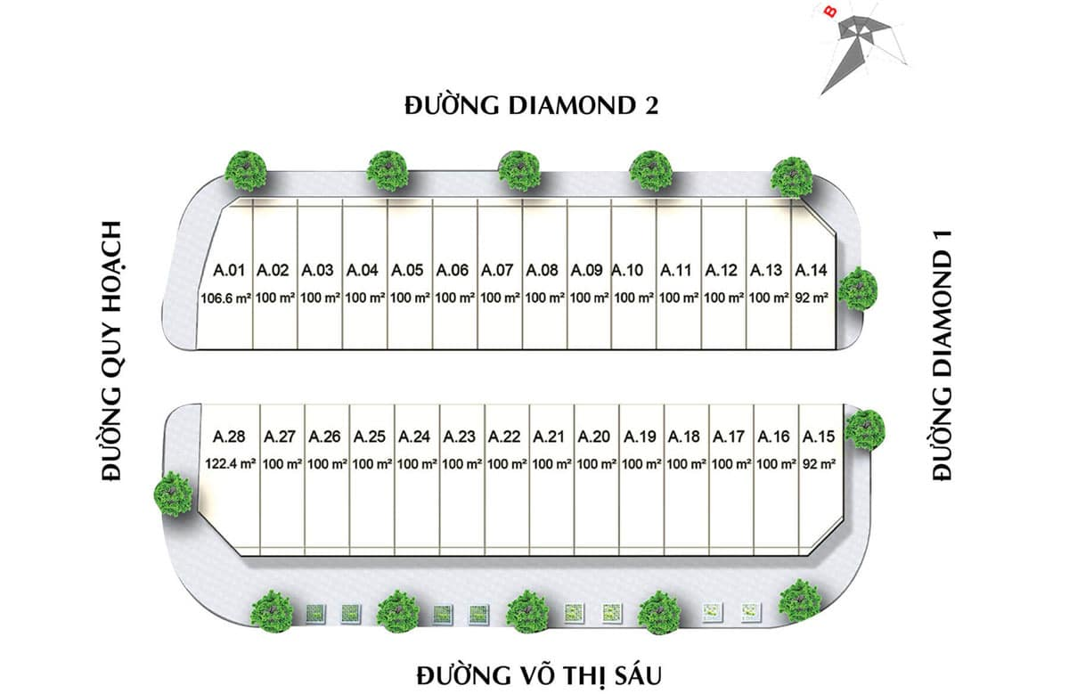 mat bang phan lo khu pho Blue Diamond - DIAMOND CENTRAL BIÊN HÒA ĐỒNG NAI