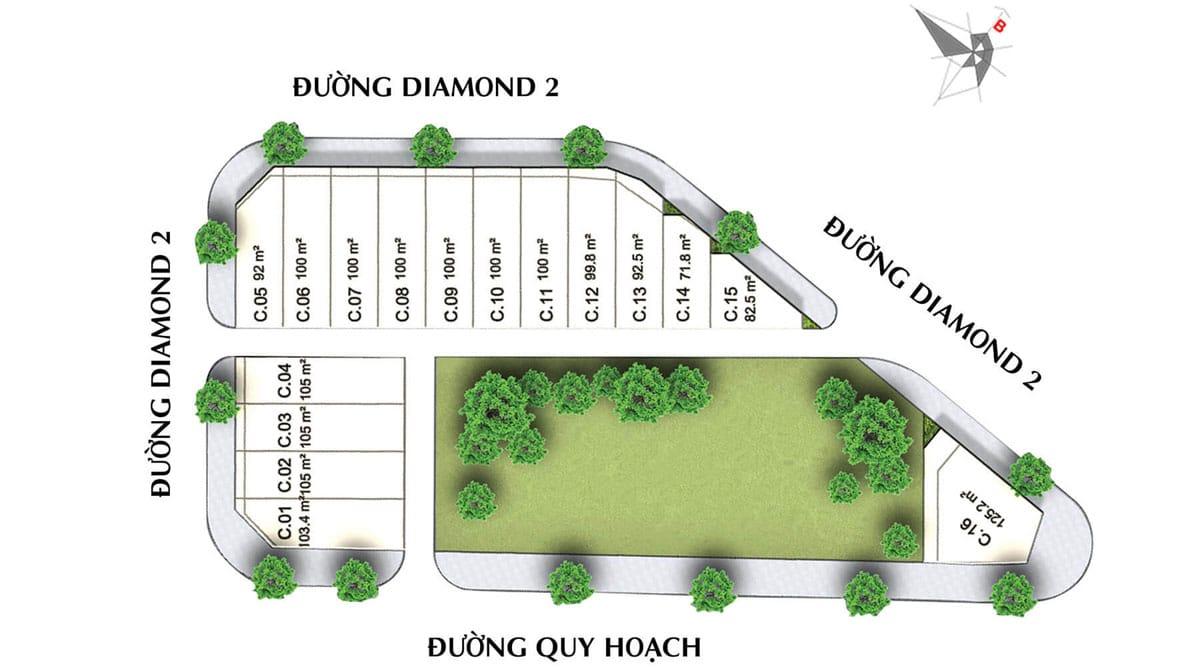 mat bang phan lo khu pho Green Diamond - DIAMOND CENTRAL BIÊN HÒA ĐỒNG NAI