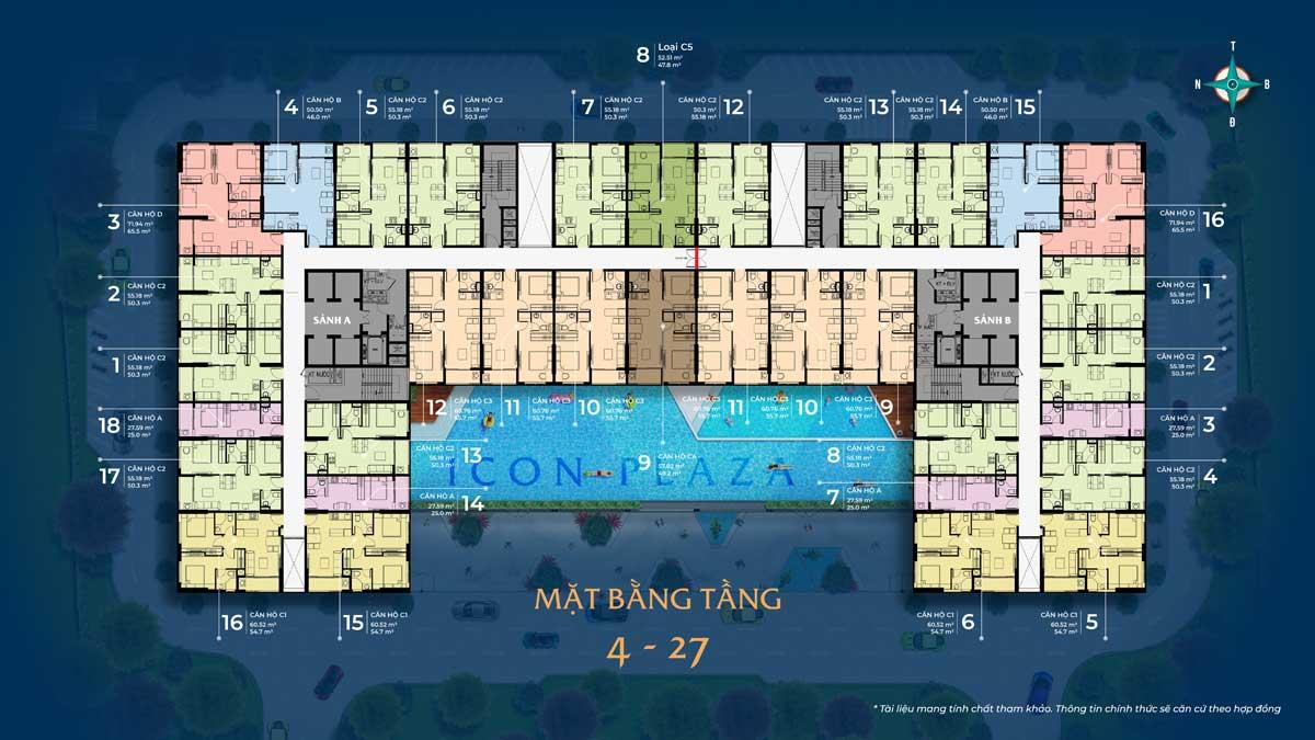 mat bang tang 4 27 du an icon plaza - ICON PLAZA BÌNH DƯƠNG