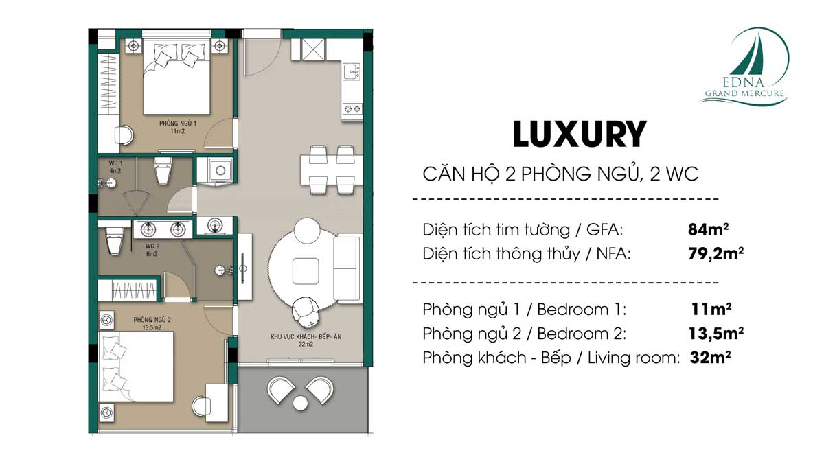 Can 2 Phong ngu 84 m2 Edna Grand Mercure Phan Thiet - EDNA GRAND MERCURE PHAN THIẾT