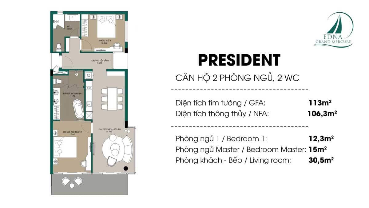 Can President 2 Phong ngu Edna Grand Mercure 113 m2 - Căn-President-2-Phòng-ngủ-Edna-Grand-Mercure-113-m2