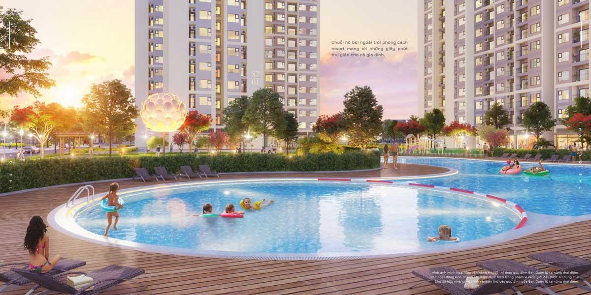 Chuỗi hồ bơi ngoài trời phong cách resort mang tới những giây phút thư giãn cho cả gia đình. - THE ORIGAMI