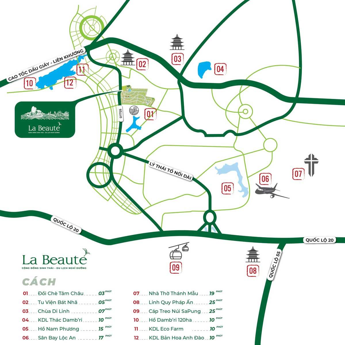 Vị trí Cộng đồng sinh thái Du lịch Nghỉ dưỡng La Beauté Bảo Lộc - LA BEAUTE' BẢO LỘC