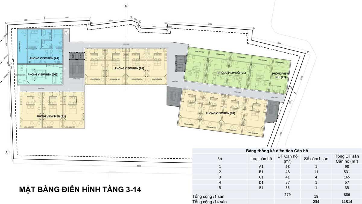 mặt bằng tầng 3 14 dự án léman cap residence vũng tàu - LÉMAN CAP RESIDENCE VŨNG TÀU