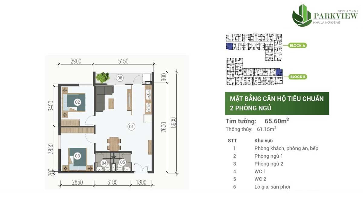 thiet ke can ho 2 pn 65m2 can ho parkview apartment binh duong - PARKVIEW APARTMENT BÌNH DƯƠNG