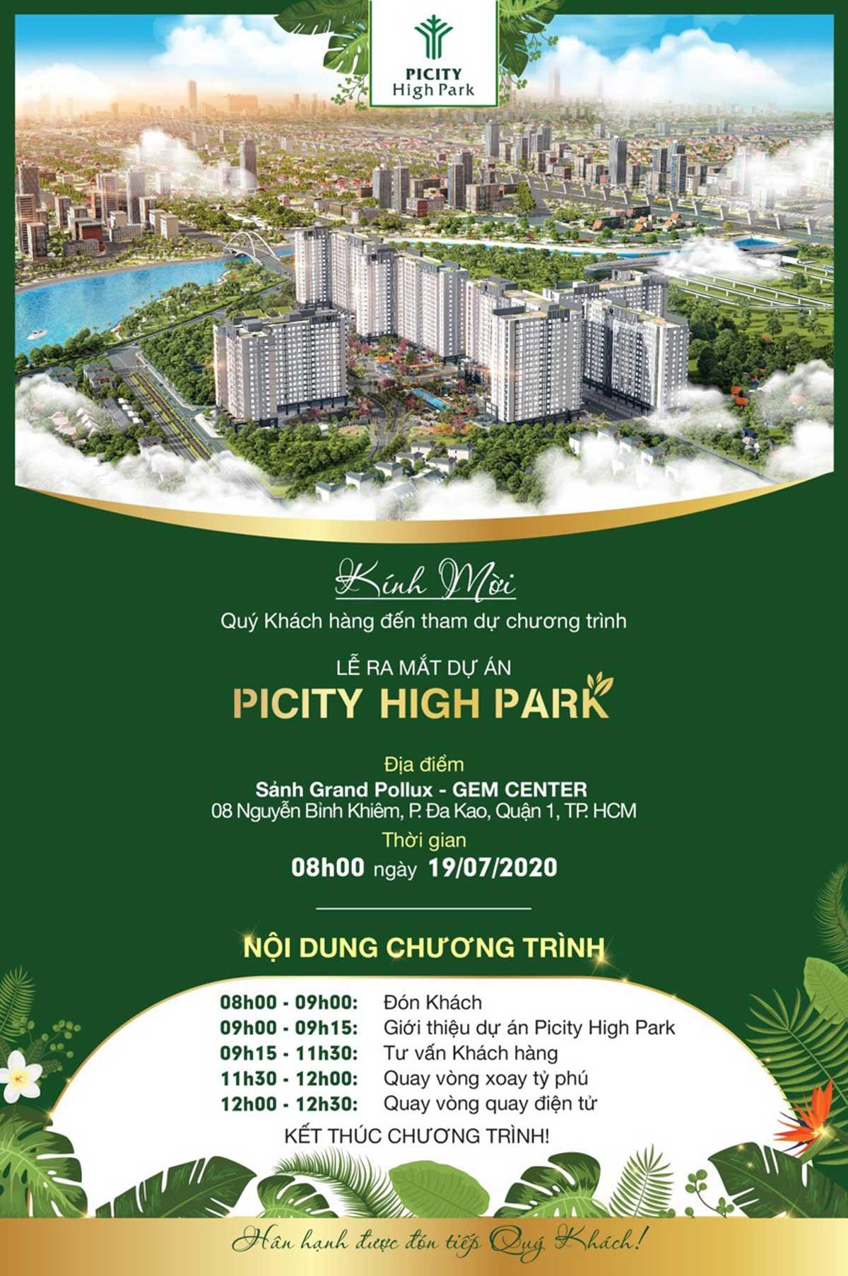 thu moi mo ban picity high park ngay 19 thang 7 nam 2020 - THỂ LỆ CHƯƠNG TRÌNH VÒNG QUAY TỶ PHÚ DỰ ÁN PICITY HIGH PARK