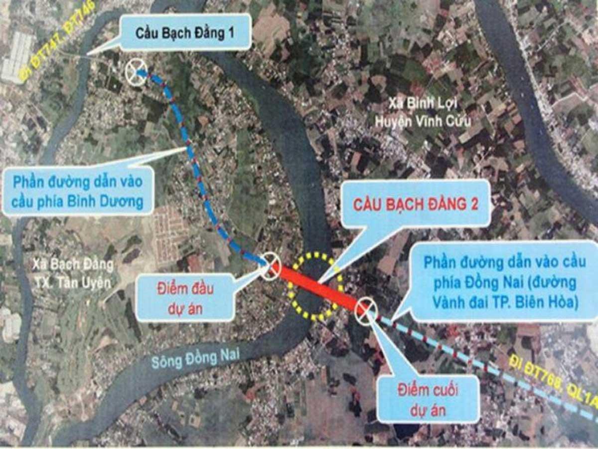 Vị trí Dự án xây cầu Bạch Đằng 2 nối liền Đồng Nai và Bình Dương