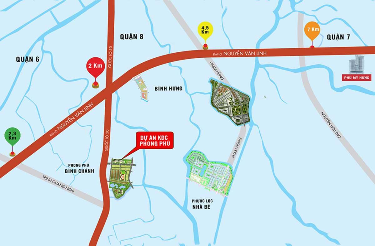 vi tri du an khu dan cu phong phu - Dự án Khu Dân Cư Phong Phú Bình Chánh