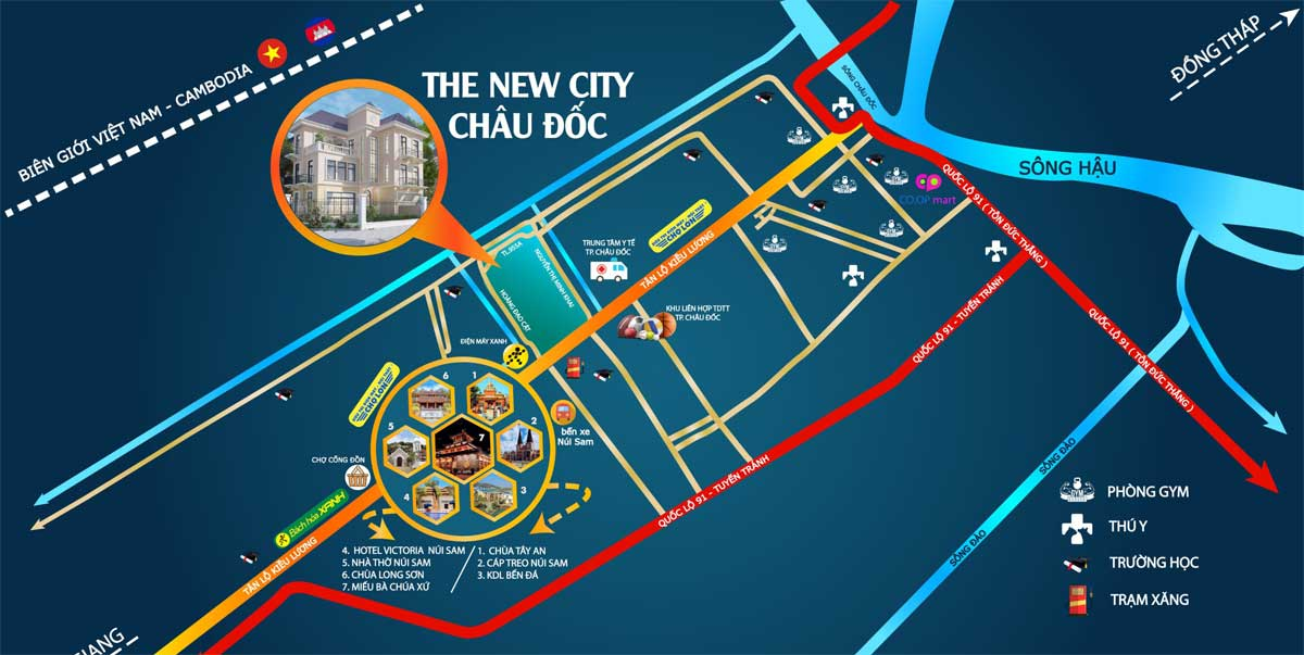 Vi tri Du an The New City Chau Doc - THE NEW CITY CHÂU ĐỐC