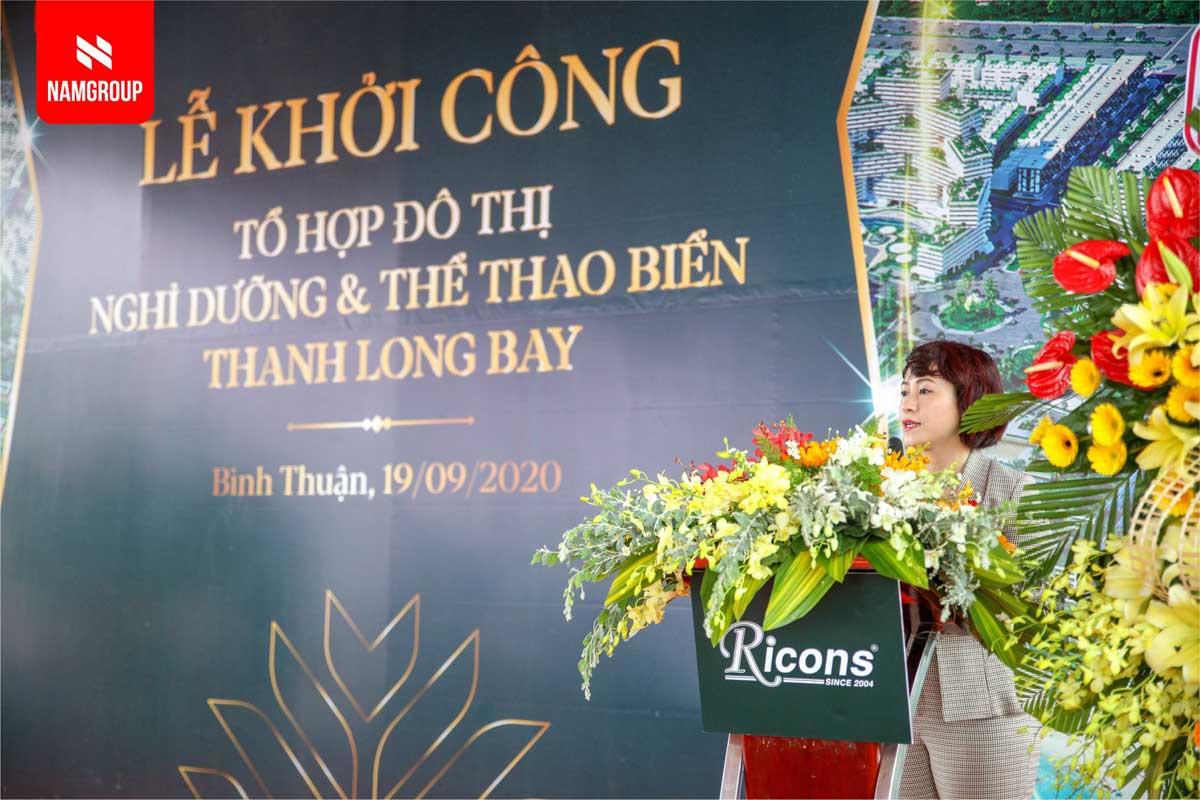 Ba Vu Thi Nhu Mai Pho Chu tich HDQT Nam Group phat bieu tai buoi le - DỰ ÁN THANH LONG BAY PHAN THIẾT BÌNH THUẬN