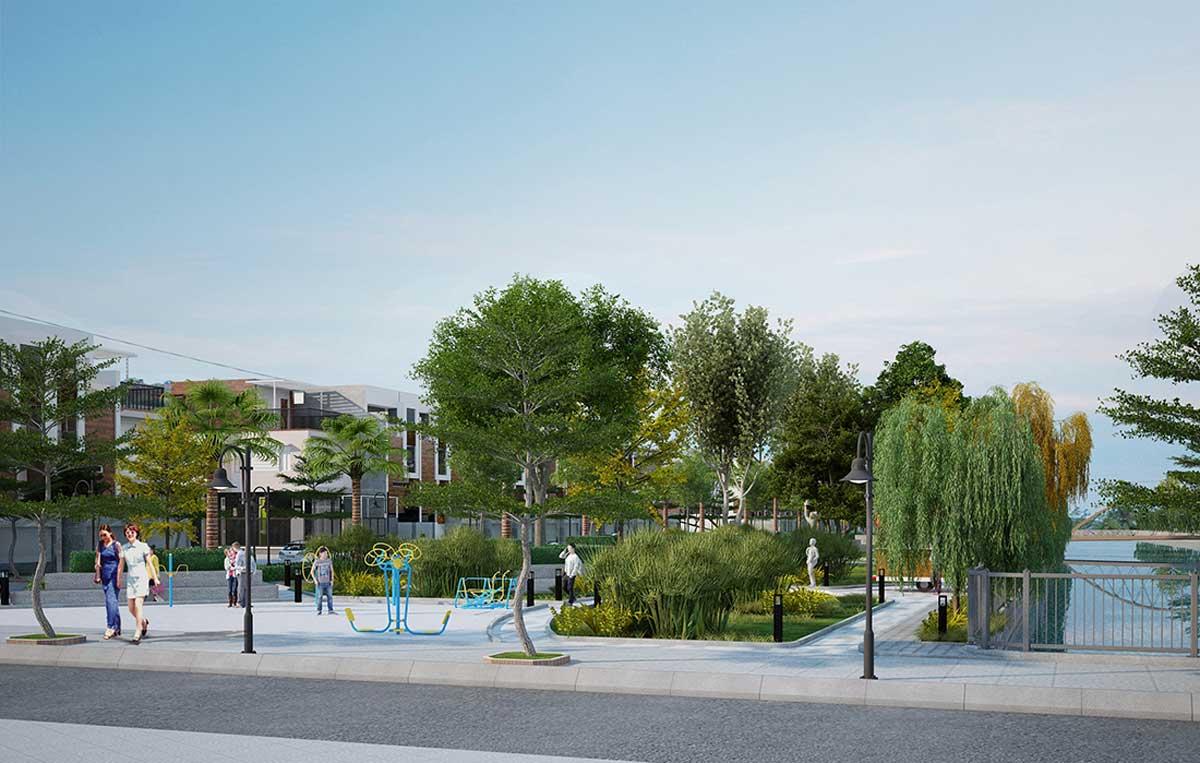 Cong vien noi khu Du an Garden Riverside Long An - GARDEN RIVERSIDE THỦ THỪA LONG AN