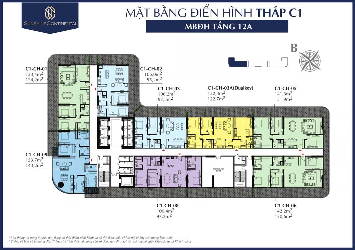 Mat bang dien hinh tang 12A thap C1 du an sunshine continental - DỰ ÁN CĂN HỘ SUNSHINE CONTINENTAL QUẬN 10
