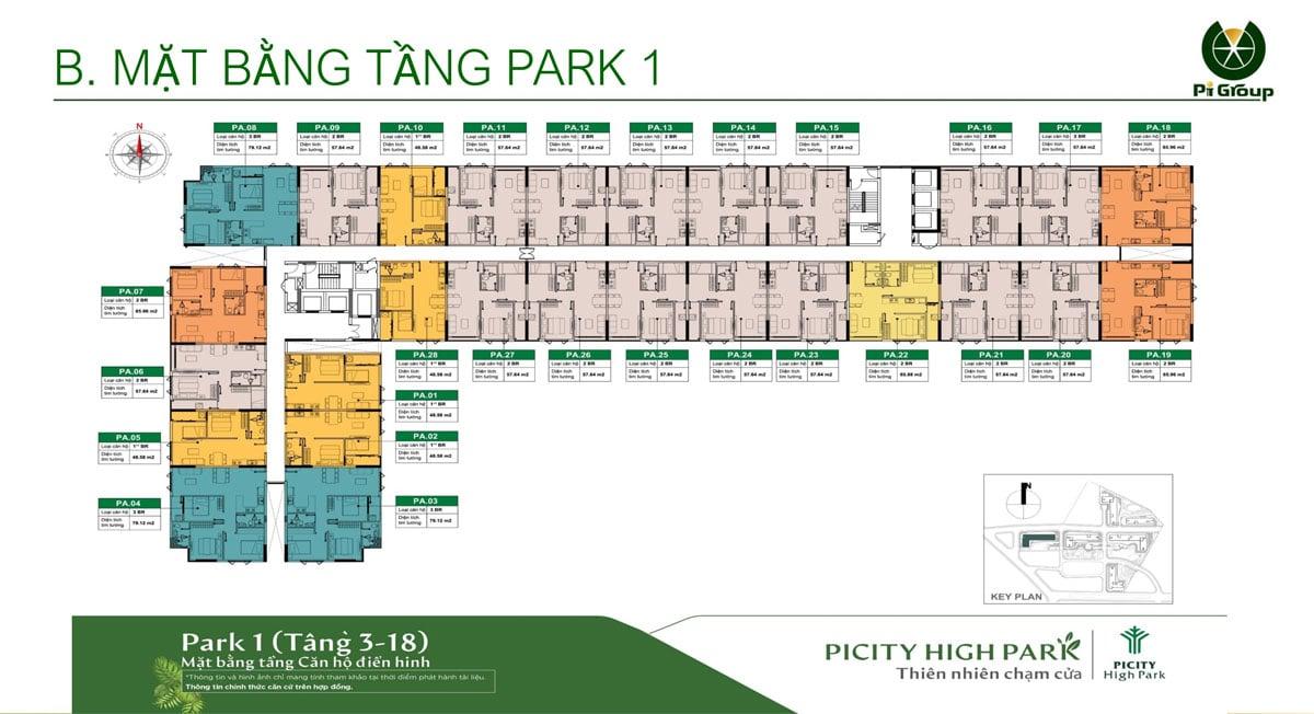 Mat bang tang 3 18 Park 1 Picity High Park Limited Edition - MỞ BÁN PARK 1 PICITY HIGH PARK LIMITED EDITION