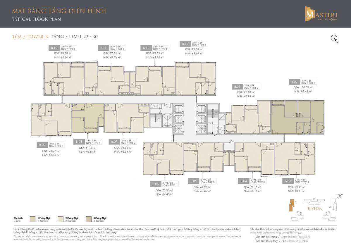 mat bang thap B tang 22 30 masteri centre point - MASTERI CENTRE POINT QUẬN 9